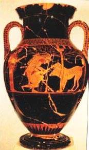 Μελανόμορφο αγγείο που παριστάνει τον Ηρακλή να δένει τον Κένταυρο σε μια ελιά, υπό το βλέμμα της Αθηνάς.